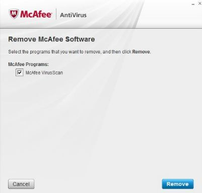 remove mcafee from windows 8.1