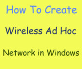 set up wifi ad hoc network in windows 7