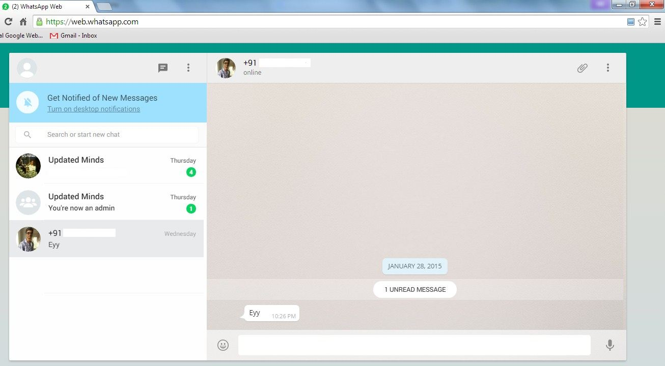 whatsapp web version on pc