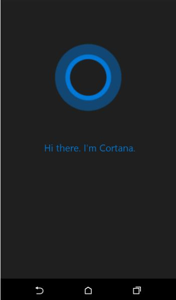 cortana apk welcome message